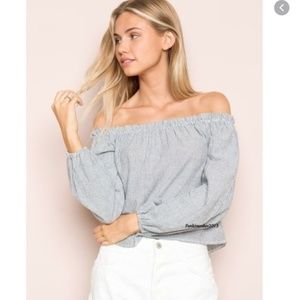 Brandy Melville Theia Off Shoulder Striped Top